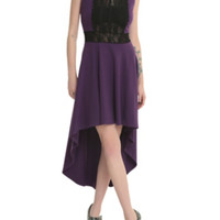 Purple & Black Lace Hi-Lo Dress