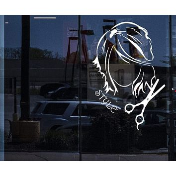 Window Sign for Business Vinyl Decal Wall Sticker Hairdressing Beauty Salon Barber Shop Design (n838w)