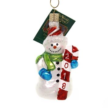 Old World Christmas 2018 SNOWMAN Glass Dated Ornament 24183