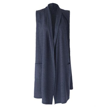 Casual Style Solid Color Long Edition Sleeveless Women's Cardigan