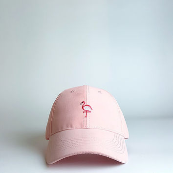 Pink Flamingo Embroidered Baseball Cap Hat