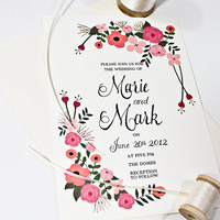 Flower Hand Painted Wedding Invitation in Pink: Qty100 Wedding Invitation & RSVP cards with envelopes 3.60ea