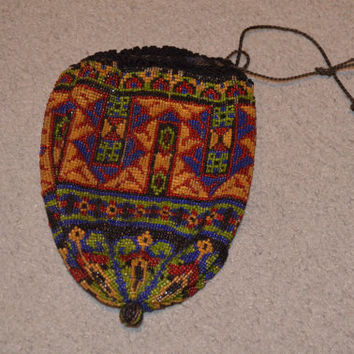 Drawstring Beaded Purse / Pouch Purse / Edwardian Purse / Micro Seed Bag / Art Deco Design