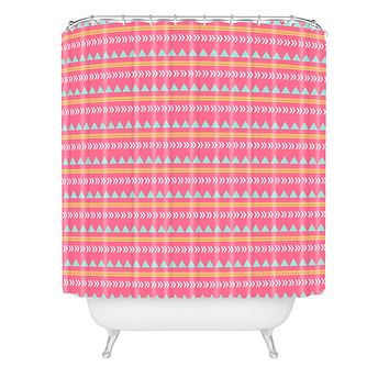 Allyson Johnson Pink Native Aztec Shower Curtain