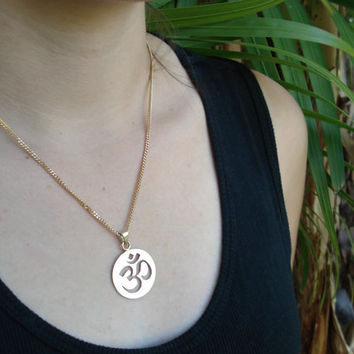 Gold Ohm pendant, handmade Ohm necklace, yoga zen om symbol, om aum omkar, religious Hindu Buddist Jain charm, recycled eco-friendly gold