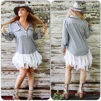 Flirty summer boho tunic dress, wild willow top, M