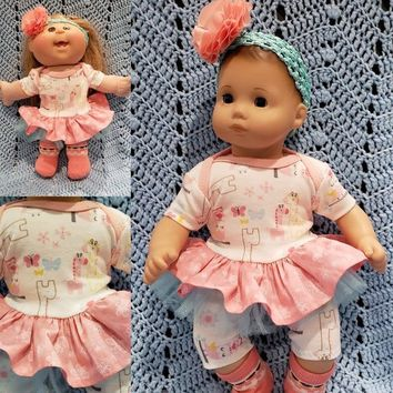 """Will fit Bitty Baby® Baby Alive® Cabbage Patch® 15 inch Baby Doll Clothes """"Giraffe and Friends"""" outfit  B3"""