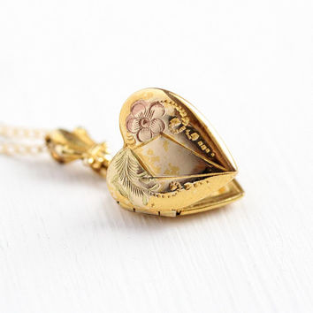 Vintage Children's Locket - 10k Rosy Yellow Gold Filled Heart Shaped Necklace Pendant - Dainty 1940s Petite Baby Children's Charm Jewelry