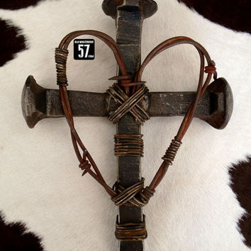 Railroad Spike Cross with Barbed Wire Heart Metal Cross Western Wall Cross Barbed Wire Cross Barbed Wire Decor Western Wall Art RSC-031