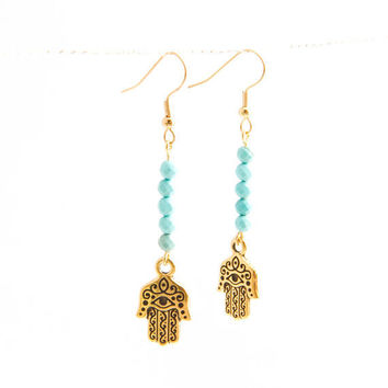 Hamsa Blue Turquoise Earrings Turquoise and gold by AtelierYumi