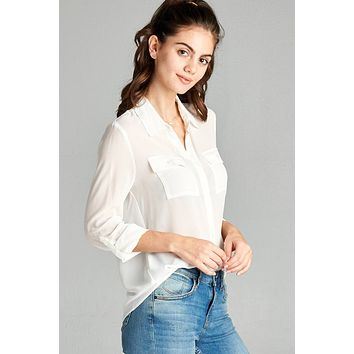 e73ccc0b999 Ladies fashion long sleeve front pocket chiffon blouse w  back button detail