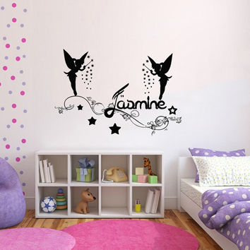Personalized Name Decal Nursery Room Wall Decal Fairy Vinyl Sticker Wall Decor Home Interior Design Art Mural U-9
