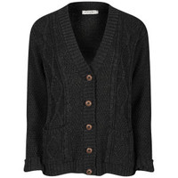 Women's Long Sleeve Cable Knit Cardigan -Volcanic Black