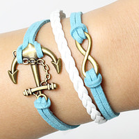 mens womens bracelets  - bronze infinit & anchor  braclets with blue rope,with braided rope bracelets ajustable length