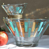 Vintage Mid Century Atomic Chip n Dip Party Bowl Set by Anchor Hocking in Aqua and Gold