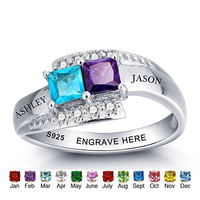 925 Sterling Silver Personalized Engraved Promise Rings With Simulated Birthstone Names Ring