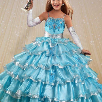 lace applique blue pageant dresses for little girls size 8 12 with jacket long prom kids puffy glitz white pageant ball gowns
