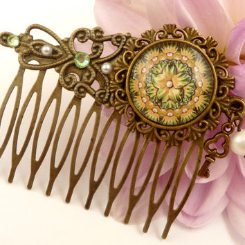 Elegant hair comb in bronze with green floral pattern and genuine pearl