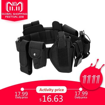 Lixada Outdoor Military Waist Belly Band Tactical Belt Gear Hunting Equipment Waist Band Duty Utility Belt with Pouches Holster