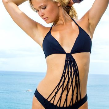 Sauvage Black Macrame One Piece