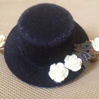 BLACK and Off white Victorian Masquerade SteamPunk Clip-On Top Hat