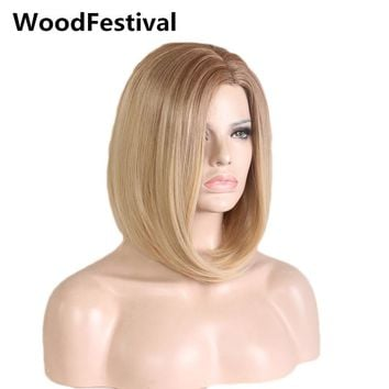 straight synthetic short bob wigs women synthetic hair ombre blonde wig dark roots heat resistant WoodFestival