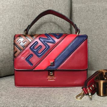 Fendi 2018 new retro hit color small square bag shoulder Messenger bag red
