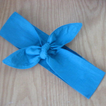 Hair Bandana, Rockabilly 50s Bandana, Bandana Headband, Knotted Bandana, AQUA, BOHO Hair Band, HeadScarf, Fabric Headband, HairBand