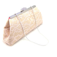 Champagne, Blush Pink Lace and Calypso Coral Wedding Clutch