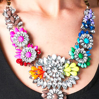STACKED MULTI COLOR FLORAL NECKLACE
