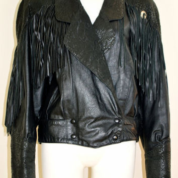 ON SALE LEATHER Fringe Jacket Black Leather Concho Jacket Fringed Moto Biker Leather Jacket / Snakeskin Leather / 80s Vintage Fringe Concho