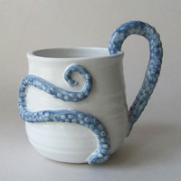 $28.00 Octopus Tentacle Coffee Mug by wildcardpottery on Etsy