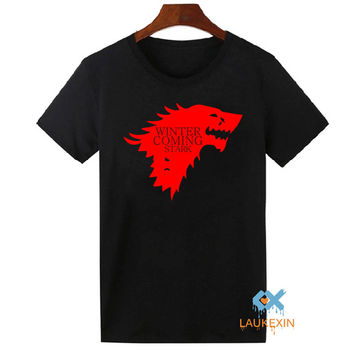 Winter Is Coming T Shirt Men's Game of Thrones Tops Tee Shirts Camisetas The House of Stark Wolf Homme T-shirt US Size XS-2XL