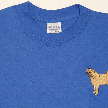 PUG Dog - Embroidered S/S Tee Shirt - Size Small, Medium, Large, XL or 2XL - Price Apparel Embroidery - 56 Colors Available