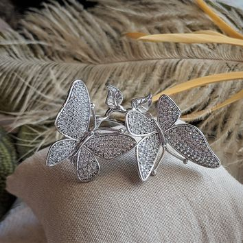 Sterling Silver Two Finger Butterfly Pave CZ Ring