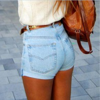 ONETOW Fashion Solid Color Simple Casual High Waist Denim Shorts Hot Pants Jeans
