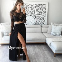 Black High Slit Two Piece Prom Dress With See Through Long Sleeve And Bodice