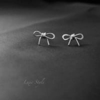Silver Stud Ear Rings Bow Ear Rings Modern Jewelry Contemporary Unique designer handmade jewelry Luxe