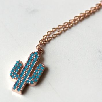 Turquoise Cactus Delicate Necklace