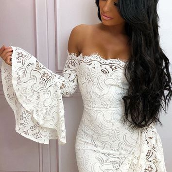 Privacy Please White Lace Long Flare Sleeve Off The Shoulder Bodycon Mini Dress