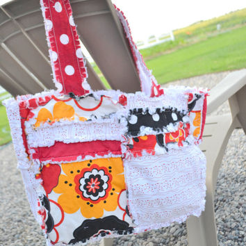 RAG PURSE, Diaper Bag, Quilted Tote, Red, White, Black, Ready to Ship
