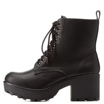 Black Lug Sole Chunky Heel Combat Booties by Charlotte Russe