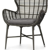 Lacey Modern Classic Espresso Outdoor Chair, Salt - Midcentury - Outdoor Lounge Chairs - by Kathy Kuo Home