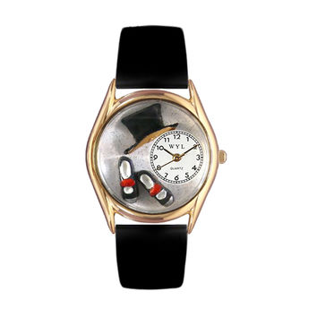 Whimsical Watches Nurse Gift Accessories Tap Dancing Themed Black Leather And Goldtone Watch