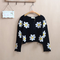 DAISY 90s grunge CROP TOP sweater