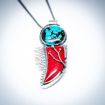 Hopi Turquoise & Coral Rose Branch Necklace