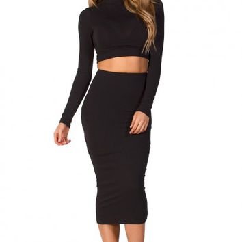 Ashlan Black Long Sleeve Crop Top 2 Piece Dress