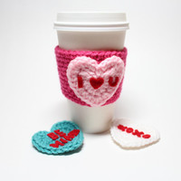 Conversation Heart Coffee Cozy, Valentine's Day Coffee Sleeve, Heart Crochet Can Cozy, Starbucks Cup Sleeve, Valentine Drink Cozy