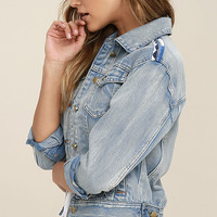 Highway Blue Embroidered Denim Jacket