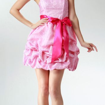 CLEARANCE LIMITED STOCK - Short Cute Strapless Pink Cocktail Prom Dress Ribbon Bow Bubble Hem Ruched
